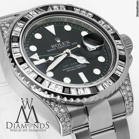 Rolex Gmt Master Ii 116710ln Black Dial  Baguette Diamod Bezel, Lugs Watch