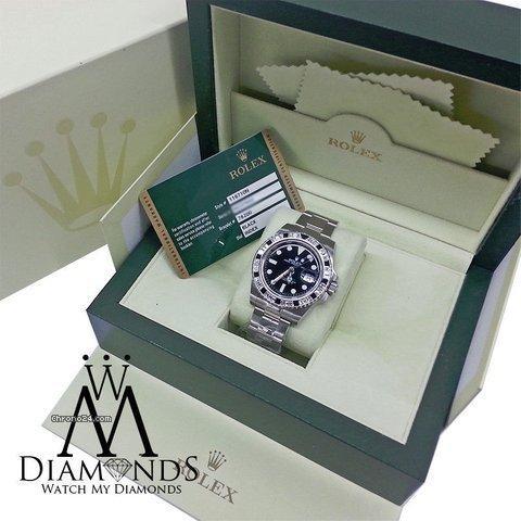 Rolex Gmt Master Ii 116710ln Black Dial  Baguette Diamod Bezel Stainless Steel