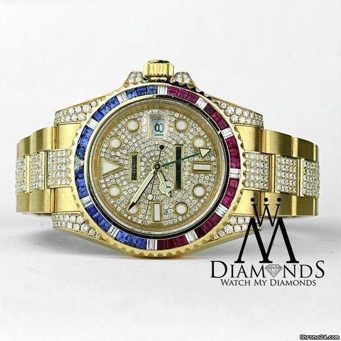 Rolex Gmt Master Ii 116718 18k Yellow Gold Pepsi Diamondsrubiessapphires Bezel