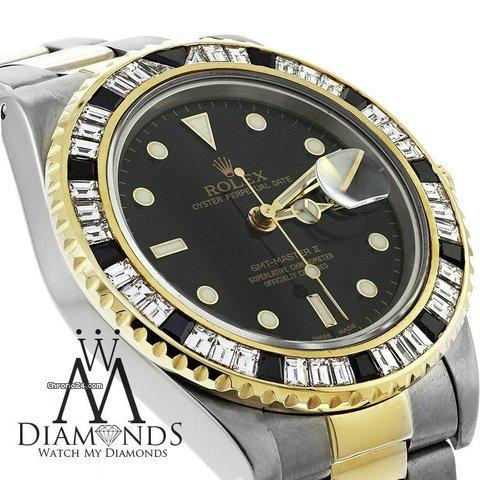 Rolex Gmt Master Ii 16713 Two Tone 18k Gold Black  White Baguette Diamond Bezel