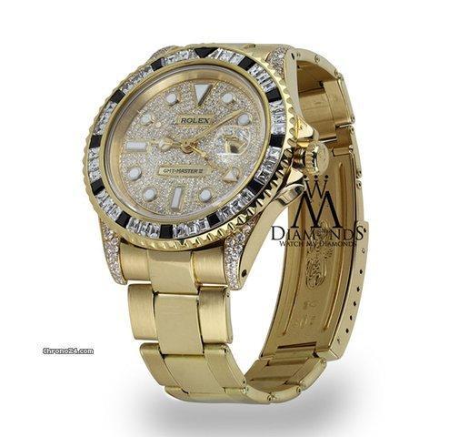 Rolex Gmt-master Ii 40mm 18k Yellow Gold Diamond-paved Dial Diamond Watch