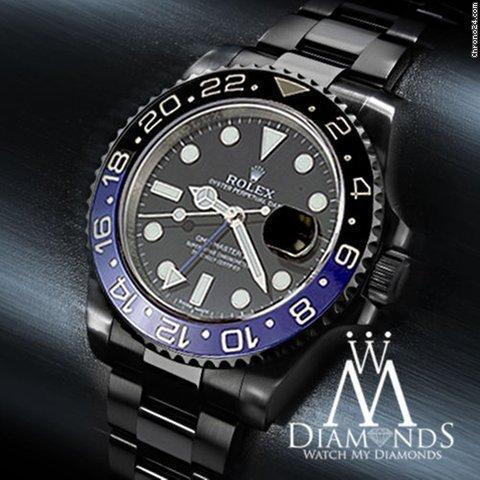 Rolex Gmt Master Ii Batman 116 Black Dial  Black And Blue Bezel Stainless Steel