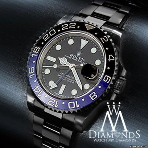Rolex Gmt Master Ii Batman 116 Black Dial  Black And Blue Bezel Stainless Steel