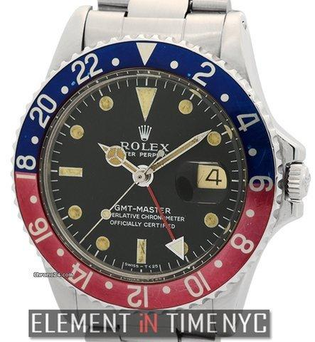 rolex gmt master vintage steel pepsi bezel black dial. Black Bedroom Furniture Sets. Home Design Ideas
