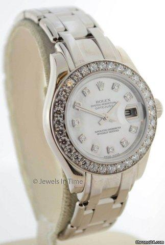 Rolex Ladies Pearlmaster Watch 18K Gold and Diamonds