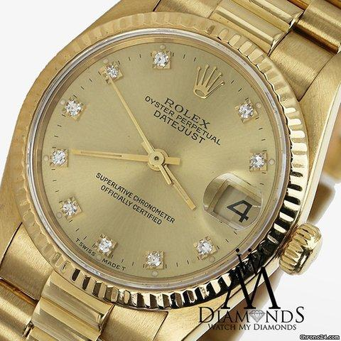 Rolex Ladies Rolex Presidential Datejust 18k Yellow Gold Champagne Dial Diamond Watch