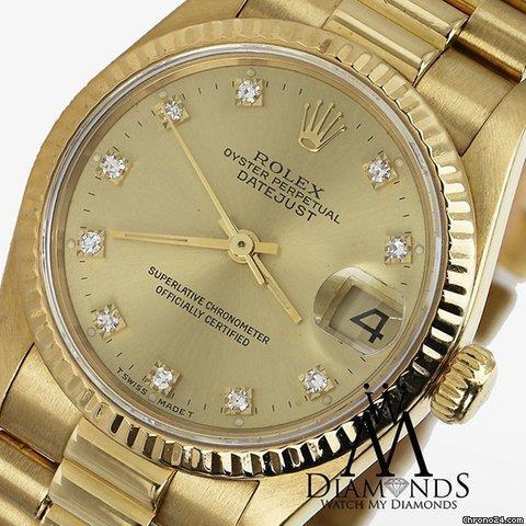 Rolex Ladies Rolex Presidential Datejust 18k Yellow Gold Champagne Dial Diamond Watch