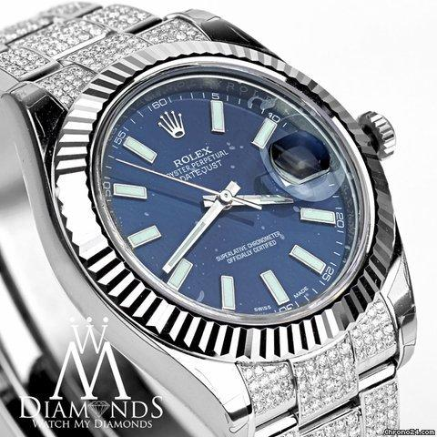 Rolex Large 41mm Rolex Datejust Blue Face Flutted 18kt Gold Bezel With Custom Diamonds