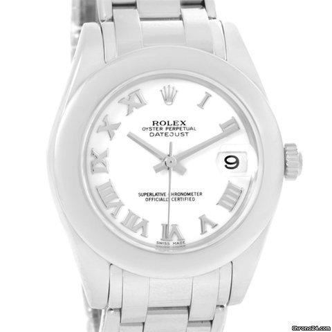Rolex Masterpiece Pearlmaster Midsize White Gold Watch 81209 Box Papers