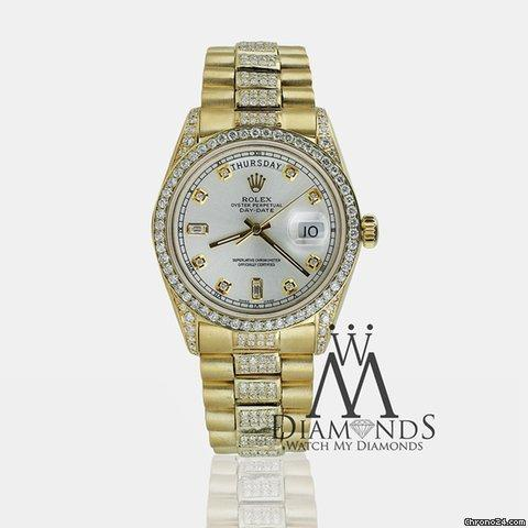 Rolex Mens Rolex President 18k Gold Day-date 18038 Diamond Bracelet,dial,bezel  Lugs