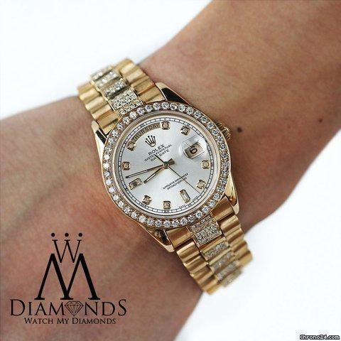 Rolex Mens Used Rolex President 18k Gold Day-date 18038 Diamond Bracelet Dial  Bezel