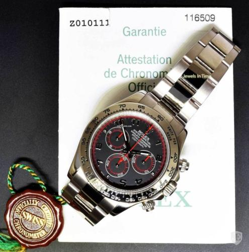 Rolex Mens Daytona 18k White Gold Black Dial Automatic