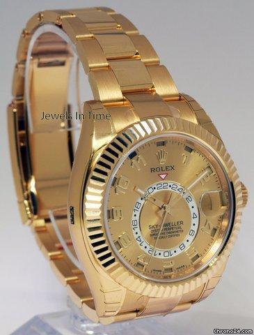 Rolex NEW Rolex Sky-Dweller 18k Yellow Gold Mens GMT