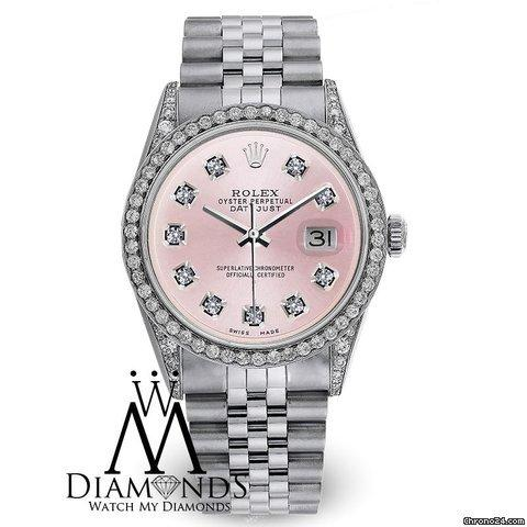 Rolex Oyster Perpetual Datejust 36mm Diamonds Pink Dial Stainless Steel Watch