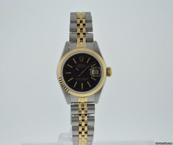 Rolex OYSTER PERPETUAL DATEJUST 69173 BLACK DIAL 18K GOLD  STEEL WARRANTY Price On Request