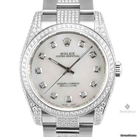 Rolex Oyster Perpetual Stainless Steel Mother of Pearl Diamond Dial Beadset Bezel Encrusted Diamond