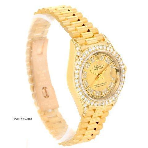 Rolex President Datejust 18k Yellow Gold Diamond Ladies Watch 69188