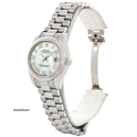 Rolex President Datejust Ladies 18k White Gold Watch 179179 Box Papers