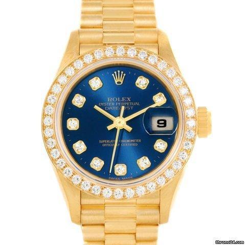 Rolex President Datejust Ladies 18k Yellow Gold Diamonds Watch 69138