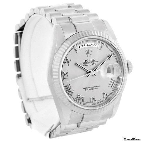Rolex President Day-date 18k White Gold Mens Watch 118239 Box Papers