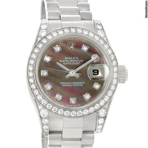 Rolex President Ladies 18k Gold Mother Of Pearl Diamond Watch 179159