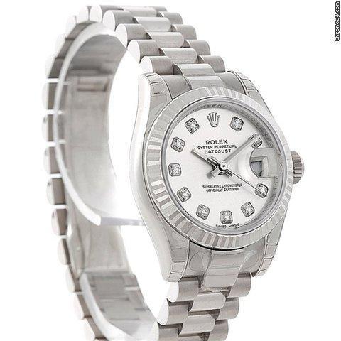 Rolex President Ladies 18k White Gold Watch 179179 Unworn