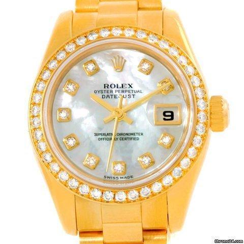 Rolex President Ladies 18k Yellow Gold Mop Diamond Watch 179138