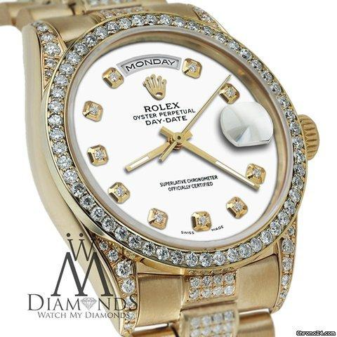 Rolex Presidential 18k Yellow Gold Day Date White Dial W Diamond Bezel Watch