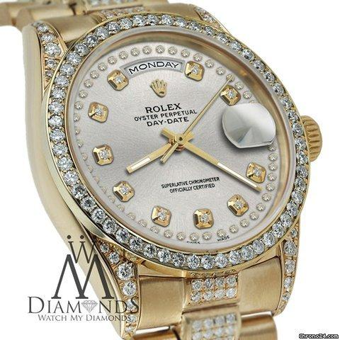 Rolex Presidential 36mm Day Date Silver String Diamond Watch 18 Kt Yellow Gold