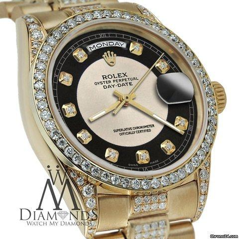 Rolex Presidential 36mm Day Date Silverblack Dial Diamond Watch 18kt Yellow Gold