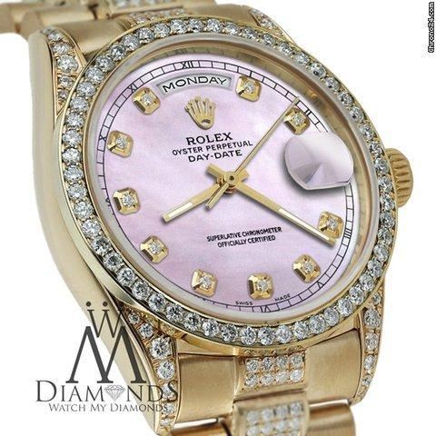 Rolex Presidential 36mm Day Date Tone Pink Dial Diamond Watch 18 Kt Yellow Gold