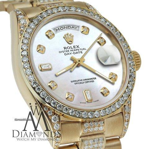 Rolex Presidential 36mm Day Date White Dial Diamond Watch 18kt Yellow Gold