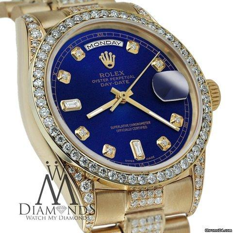 Rolex Presidential Day Date 36mm Blue Tone Dial Diamond Watch 18 Kt Yellow Gold