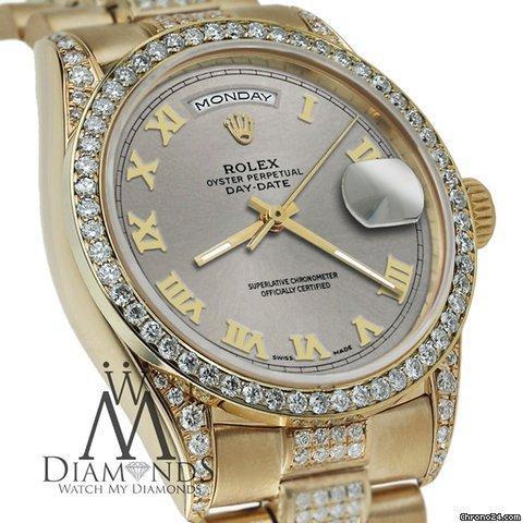 Rolex Presidential Day Date 36mm Slate Grey Roman Diamond Watch 18kt Yellow Gold