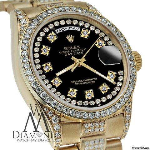 Rolex Presidential Day Date Black String Dial Diamond Watch 18 Kt Yellow Gold