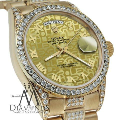 Rolex Presidential Day Date Gold Jubilee Roman Diamond Watch 18 Kt Yellow Gold