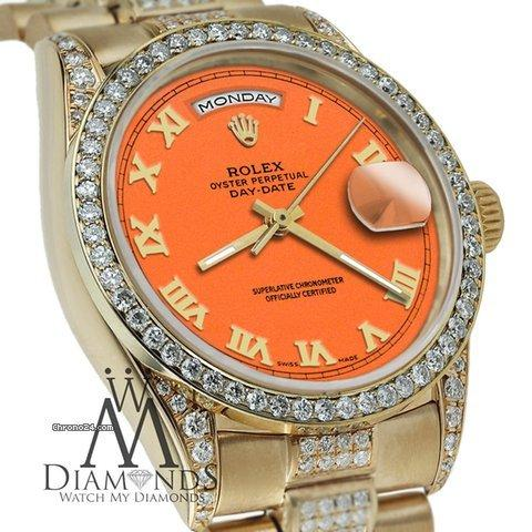 Rolex Presidential Day Date Orange Roman Diamond Watch 18 Kt Yellow Gold