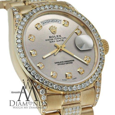 Rolex Presidential Day Date Silver Dial Diamond Watch 18 Kt Yellow Gold