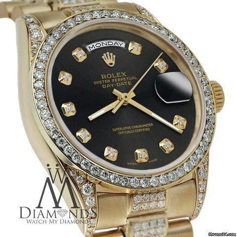 Rolex Presidential Day Date Tone Chocolate Dial Diamond Watch 18 Kt Yellow Gold