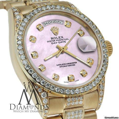 Rolex Presidential Day Date Tone Pink Dial Diamond Watch 18 Kt Yellow Gold