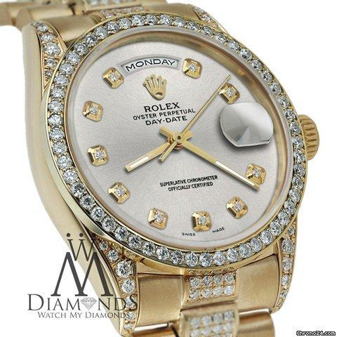 Rolex Presidential Day-date Tone Silver Diamond Accent Watch 18kt Yellow Gold