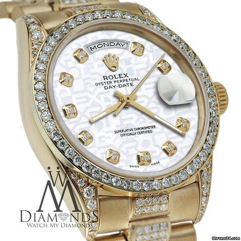 Rolex Presidential Day Date White Jubilee Dial Diamond Watch 18 Kt Yellow Gold