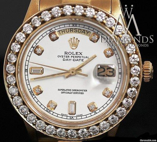 Rolex Presidential Rolex 18038 Quickset 18k Yellow Gold White Diamond Dial  Bezel