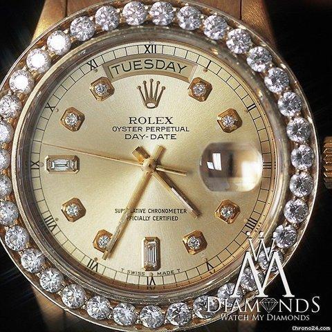 Rolex Presidential Rolex 18038 Single Quickset 18k Yellow Gold Diamond Bezel  Dial