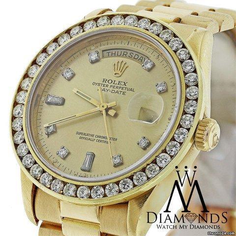 Rolex Presidential Rolex 18038 Single Quickset 18k Yellow Gold Watch Diamond Bezel
