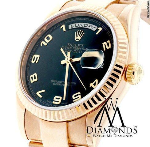 Rolex Presidential Rolex Watch - Day-date 36mm - 118205 Black Dial 18k Rose Gold