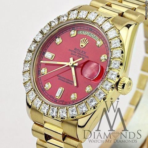 Rolex Red Face Diamond Rolex Presidential 18k Yellow Gold 18038 Single Quick Set