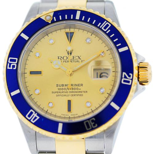 Rolex Submariner 16613 Two Tone Gold Dial Mens Watch
