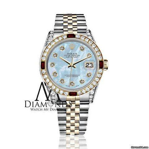 Rolex Womens Rolex 31mm Datejust 2tone Baby Blue Mop Dial With Ruby  Diamond Bezel