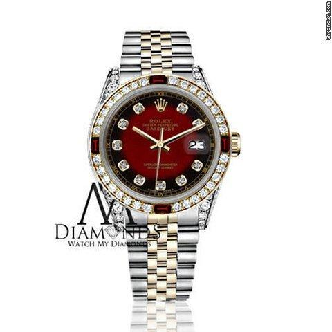 Rolex Womens Rolex 31mm Datejust 2tone Red Vignette Accent Dial Ruby  Diamond Bezel